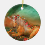 Unicorn Of The Roses Holiday Ornament