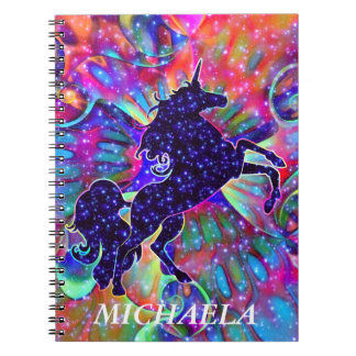 UNICORN OF THE UNIVERSE multicolored Spiral Notebook
