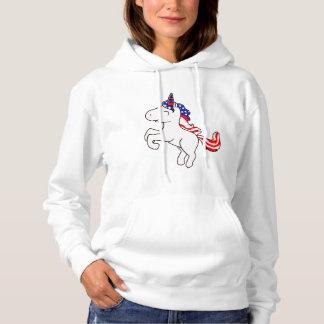 Unicorn Off White Patriotic USA Flag Mane Cartoon Hoodie