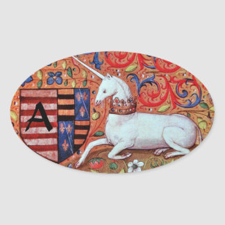UNICORN OLD BROWN PARCHMENT MONOGRAM OVAL STICKER