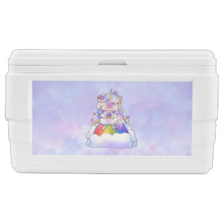 Unicorn on a Rainbow Eating  a Cupcake Chest Cooler