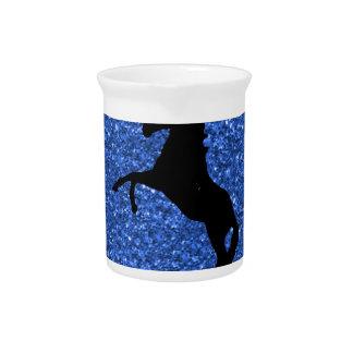 unicorn on blue glitter beverage pitcher