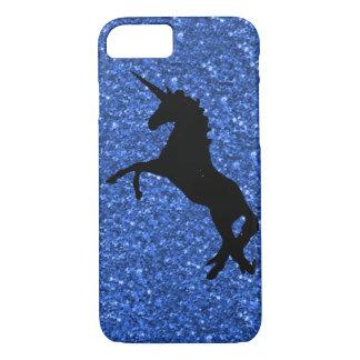 unicorn on blue glitter iPhone 7 case