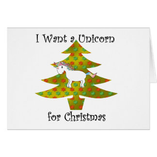 Unicorn on Christmas tree on gold fade Cards