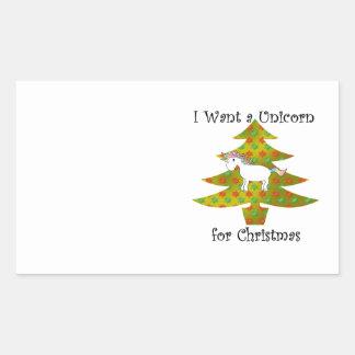 Unicorn on Christmas tree on gold fade Rectangular Sticker