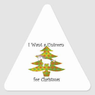 Unicorn on Christmas tree on gold fade Triangle Sticker