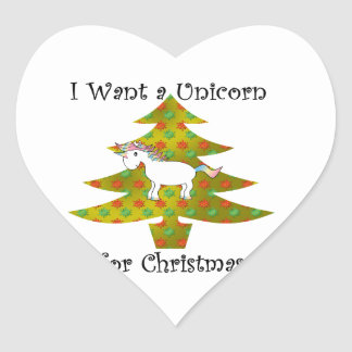 Unicorn on Christmas tree on gold fade Heart Sticker