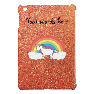 Unicorn on clouds orange faux glitter iPad mini case
