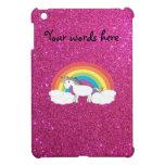 Unicorn on clouds pink faux glitter iPad mini cases