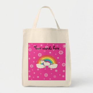 Unicorn on clouds pink snowflakes bag