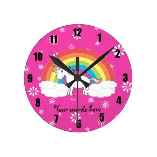 Unicorn on clouds pink snowflakes round wallclocks