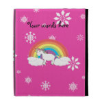 Unicorn on clouds pink snowflakes iPad folio cover