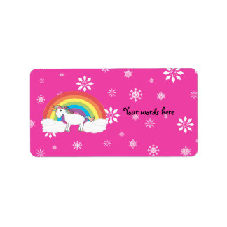 Unicorn on clouds pink snowflakes labels