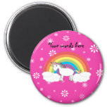 Unicorn on clouds pink snowflakes magnets