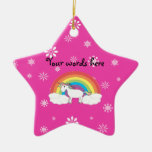 Unicorn on clouds pink snowflakes ornament