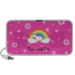Unicorn on clouds pink snowflakes portable speaker
