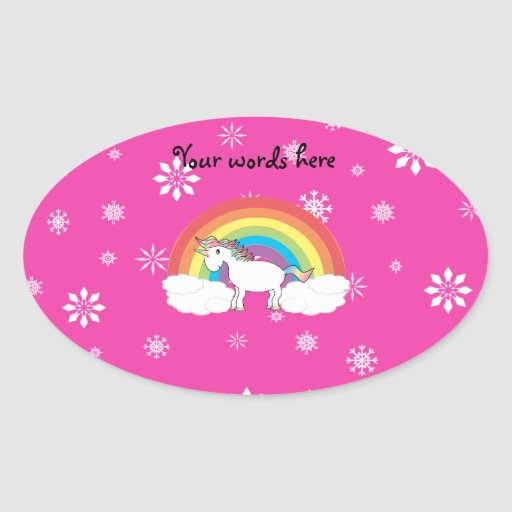 Unicorn on clouds pink snowflakes stickers