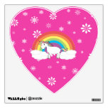 Unicorn on clouds pink snowflakes wall decals