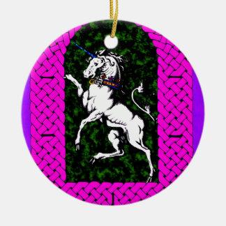 Unicorn on Field of Green Ceramic Ornament