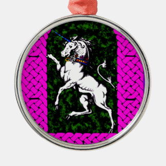 Unicorn on Field of Green Metal Ornament