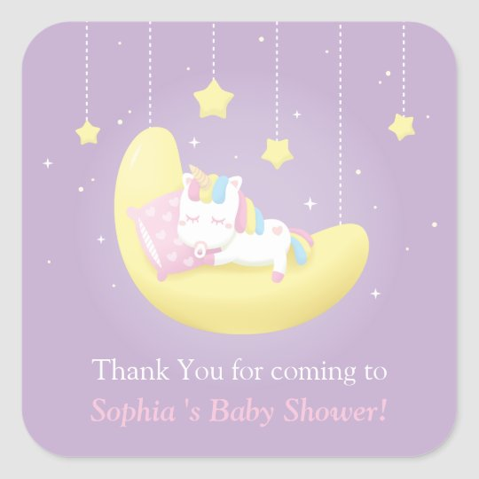 Unicorn On Moon Thank You Baby Shower Stickers Zazzle