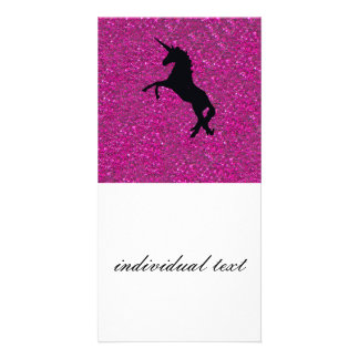 unicorn on pink glitter card