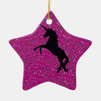 unicorn on pink glitter ceramic ornament
