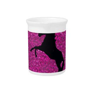 unicorn on pink glitter drink pitchers