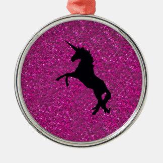 unicorn on pink glitter metal ornament