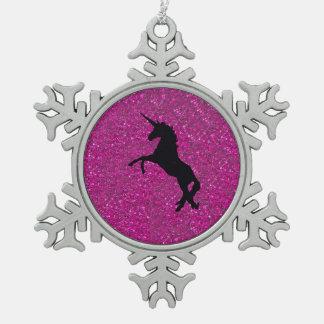 unicorn on pink glitter snowflake pewter christmas ornament