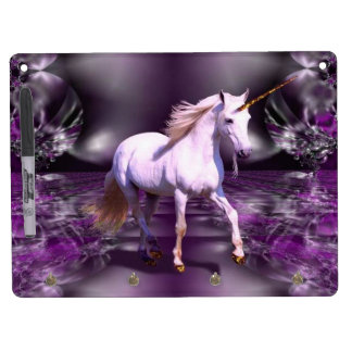 Unicorn On Purple Fractal Dry Erase Board With Keychain Holder