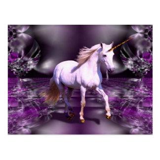 Unicorn On Purple Fractal Postcard