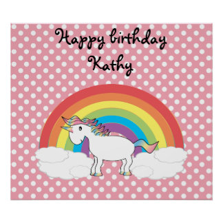 Unicorn on rainbow and pink polka dots poster