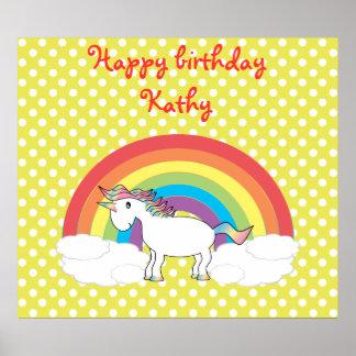 Unicorn on rainbow and yellow polka dots poster