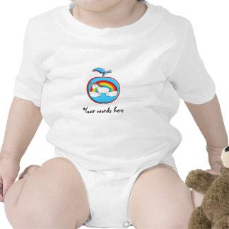 Unicorn on rainbow in apple baby bodysuit