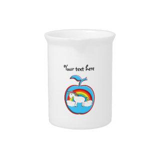 Unicorn on rainbow in apple beverage pitchers
