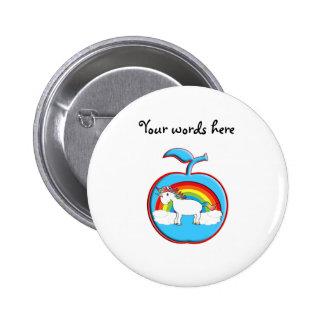Unicorn on rainbow in apple buttons