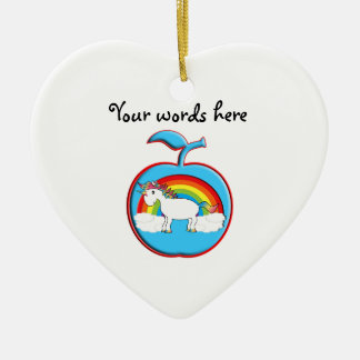 Unicorn on rainbow in apple christmas ornament
