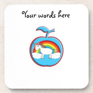 Unicorn on rainbow in apple coasters
