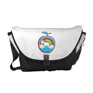 Unicorn on rainbow in apple commuter bags