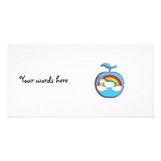 Unicorn on rainbow in apple custom photo card