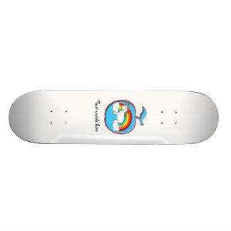 Unicorn on rainbow in apple custom skateboard