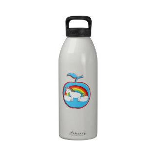 Unicorn on rainbow in apple drinking bottle