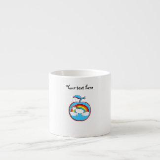 Unicorn on rainbow in apple espresso cups