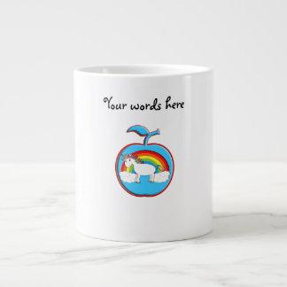Unicorn on rainbow in apple extra large mugs