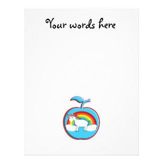 Unicorn on rainbow in apple flyer
