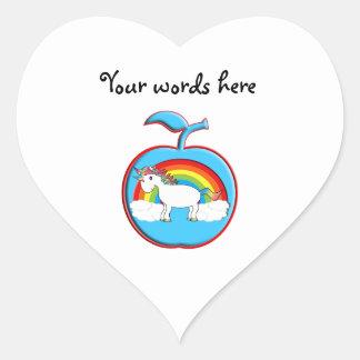 Unicorn on rainbow in apple heart stickers