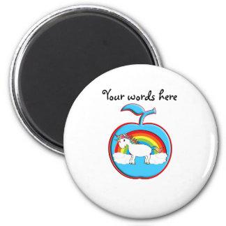 Unicorn on rainbow in apple magnet
