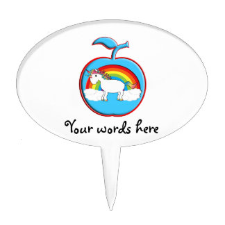 Unicorn on rainbow in apple oval cake picks