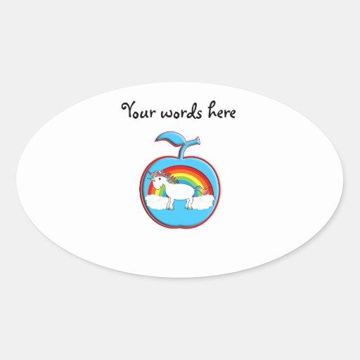 Unicorn on rainbow in apple oval stickers
